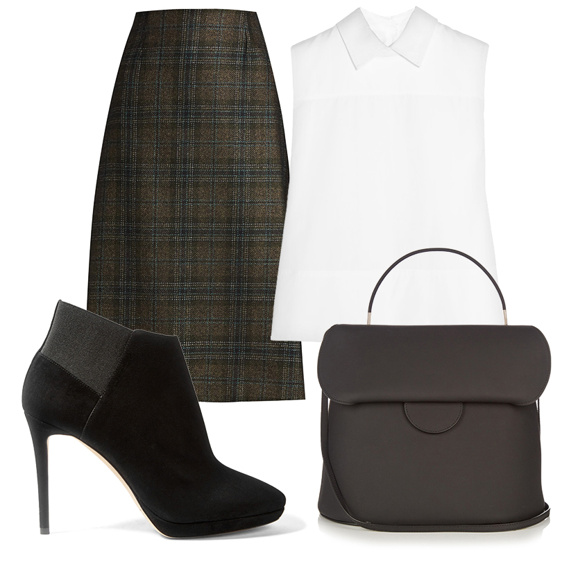 Office Style: клетчатый принт в корпоративном дресс-коде. Белый топ Victoria Beckham, клетчатая миди-юбка Maison Margiela, ботильоны Jimmy Choo, сумка Roksanda