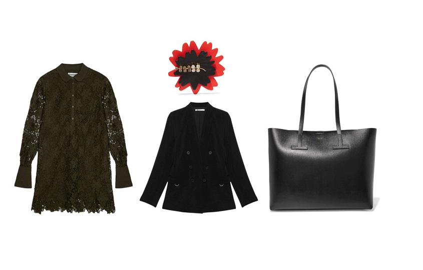 Платье, Essentiel (Aizel); жакет, TbyAlexander Wang; брошь, Marni; сумка, Tom Ford
