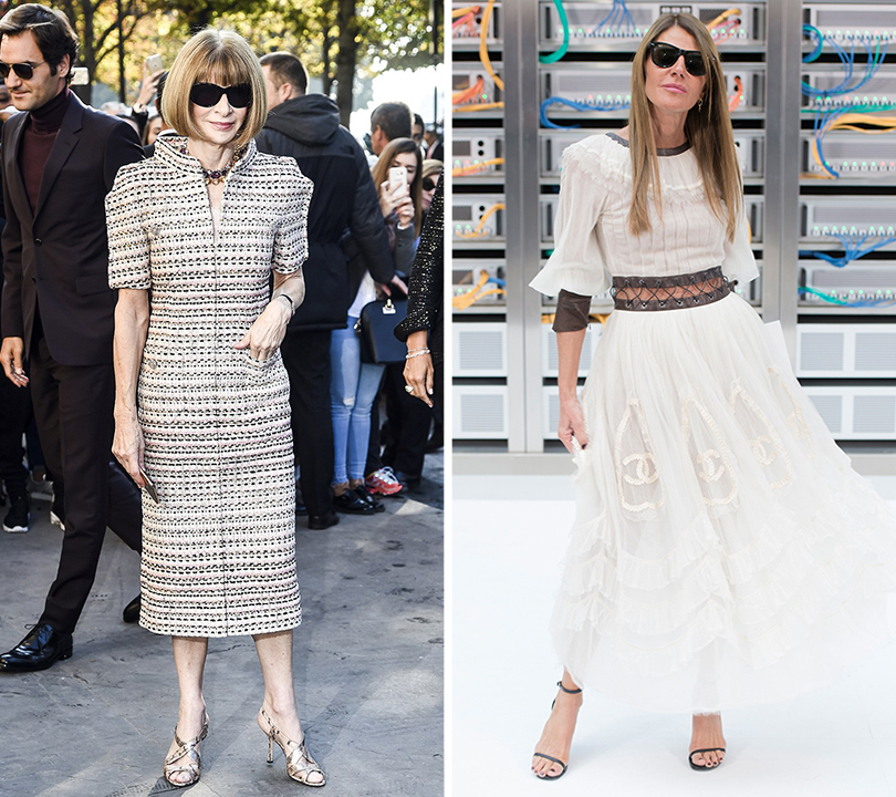 Style Notes: взгляд в будущее. Показ Chanel на Неделе моды в Париже. Анна Винтур перед показом. Анна делло Руссо