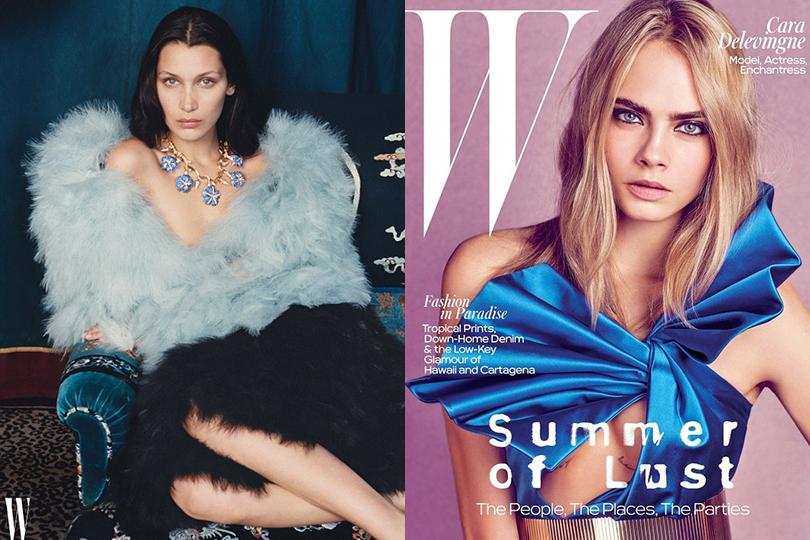 Белла Хадид и Кара Делевинь для W Magazine