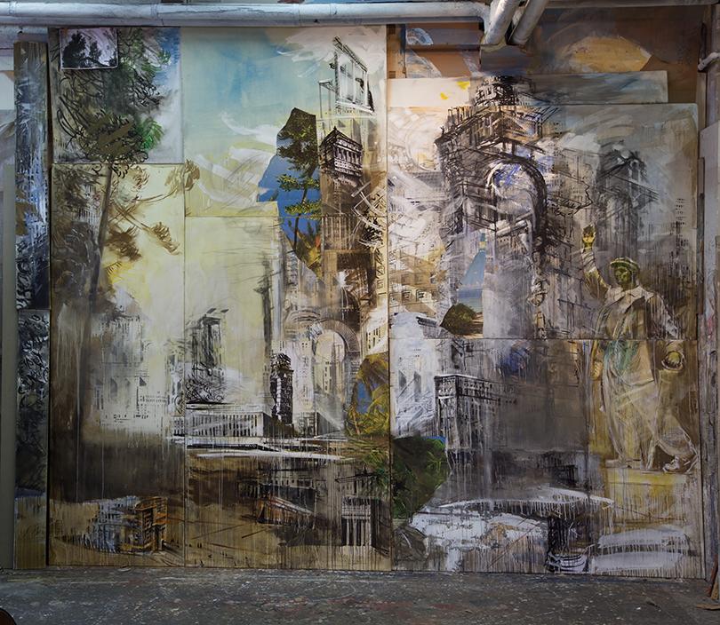 Валерий Кошляков. Проект «Элизии». Фрагмент инсталляции. 2016холст, темпера