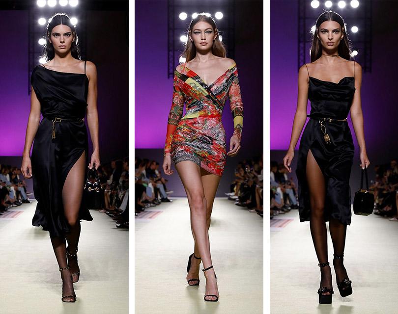 Супермодели 1990-х и2010-х нашоу Versace врамках Недели моды вМилане