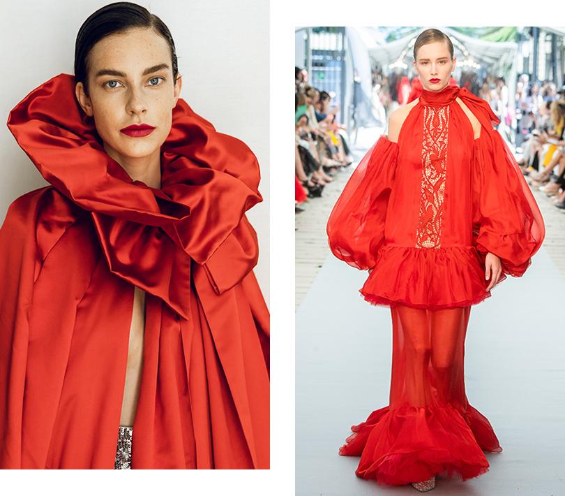 Красное на черном: показ Yanina Couture на Неделе высокой моды в Париже