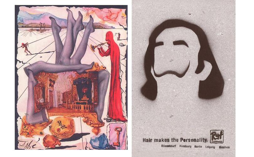 Реклама чулок. Портрет Сальвадора Дали. Реклама парикмахерской Ryf Coiffeur GmbH (Сальвадор Дали)