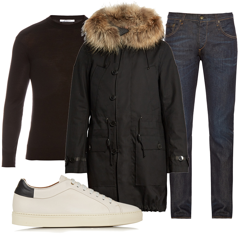 Men inStyle: утепляемся совкусом. Какую верхнюю одежду носить вноябре? Парка сотстегивающимся капюшоном Valentino, джинсы Rag &Bone, джемпер Givenchy, кроссовки Paul Smith
