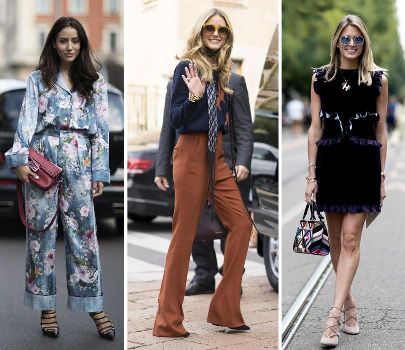 Street Style: уличный стиль на Неделе моды в Милане. Модный блогер Тамара Калиник. Оливия Палермо. Блогер Хелена Бордон
