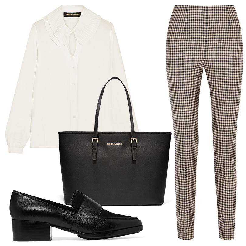 Office Style: клетчатый принт в корпоративном дресс-коде. Шелковая блузка Vanessa Seward, клетчатые шерстяные брюки Max Mara, лоферы 3.1 Phillip Lim, сумка MICHAEL Michael Kors