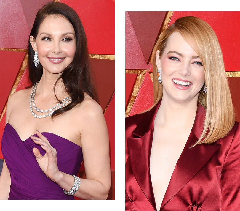 Часы &Караты: роскошные украшения церемонии «Оскар». Эшли Джадд. Эмма Стоун