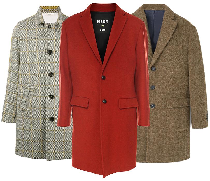 Men inStyle: как носить самые актуальные пальто весеннего сезона. Пальто Bally (Farfetch), MSGM (ЦУМ), текстурное пальто Mango