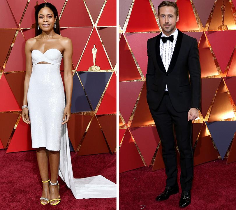 Oscars Special 2017: образы звезд на красной ковровой дорожке церемонии «Оскар». Наоми Харрис в Calvin Klein By Appointment. Райан Гослинг в костюме Gucci