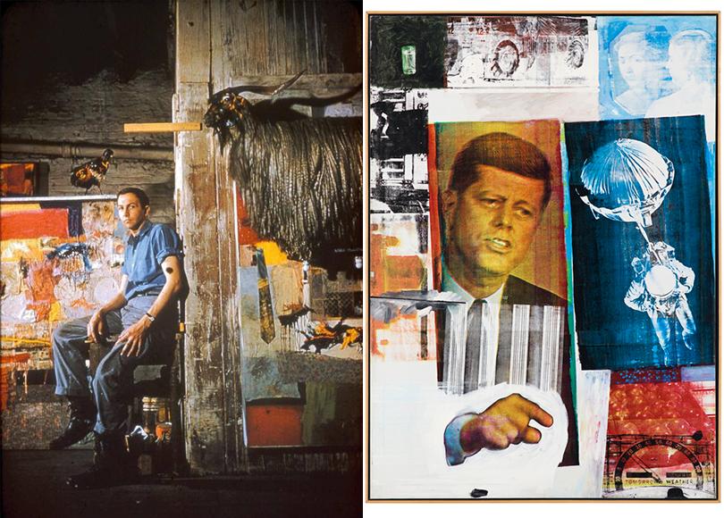 Роберт Раушенберг вмастерской, 1955г.; Роберт Раушенберг. «Ретроактив I», 1964г.