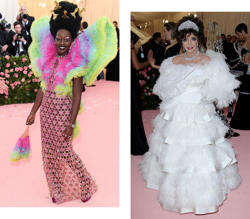 Бал Института костюма – 2019: Люпита Нионго (в Versace). Джоан Коллинз (в Valentino)