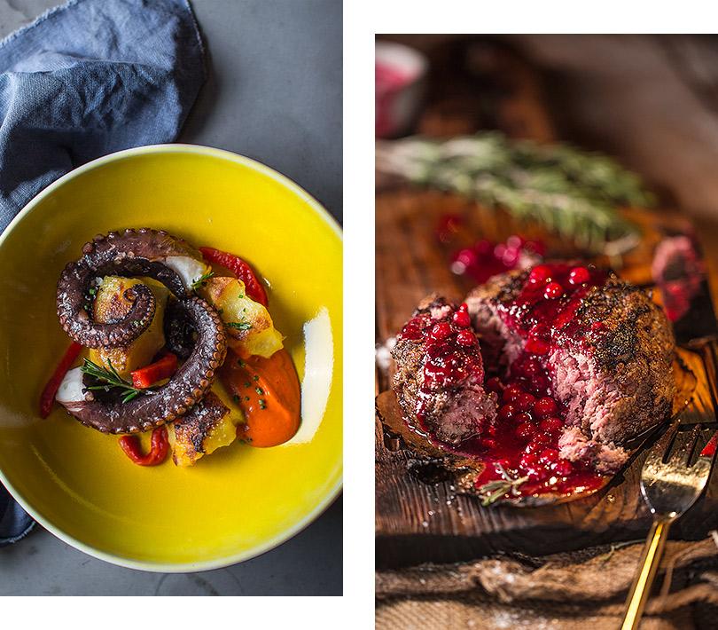Новый ресторан: «Горыныч» наРождественском бульваре— нехлебом единым. Осьминог спеченым картофелем исоусом изпаприки/ Говяжья котлета «Горыныч» сбрусничным соусом