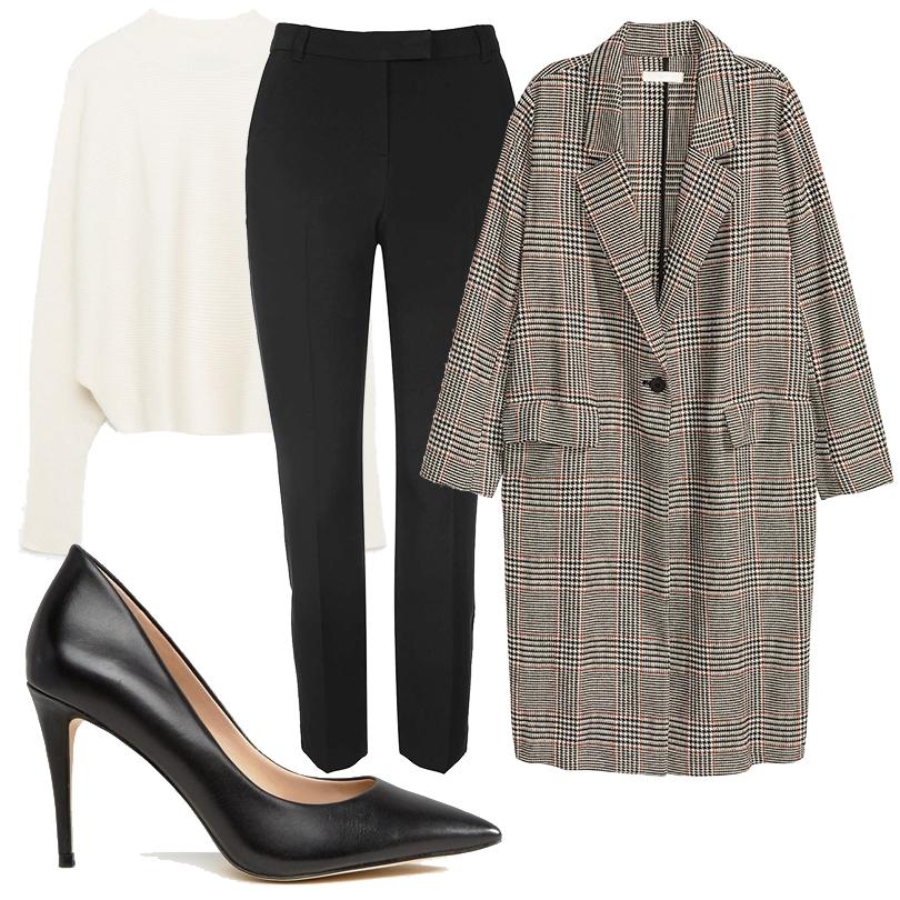 Office Style: клетчатый принт в корпоративном дресс-коде. Шерстяное пальто H&M, свитер Zara, прямые брюки Topshop, классические лодочки Aldo