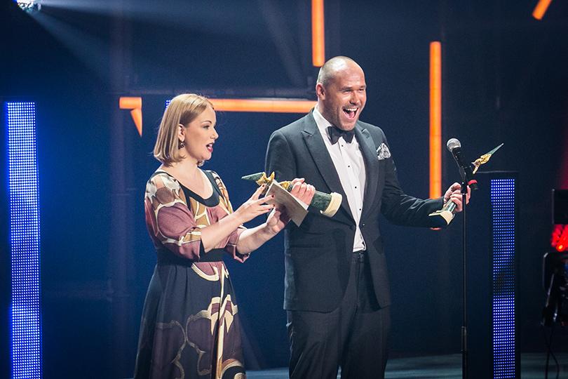Церемония «Золотой орел-2015» на «Мосфильме»: Ольга Будина и Максим Аверин