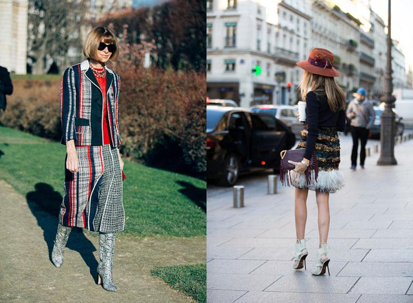 Street Style: хроники уличной моды на Неделе Haute Couture в Париже: Анна Винтур (слева)
