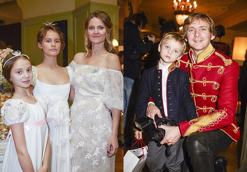 Катя Мухина («ДочкиМатери») — в платье Edem Couture,  Чарльз Томпсон с детьми